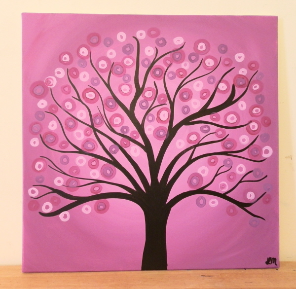 24 Large Square Tree Art Painting - Abstract Whimsical Circle Tree ...